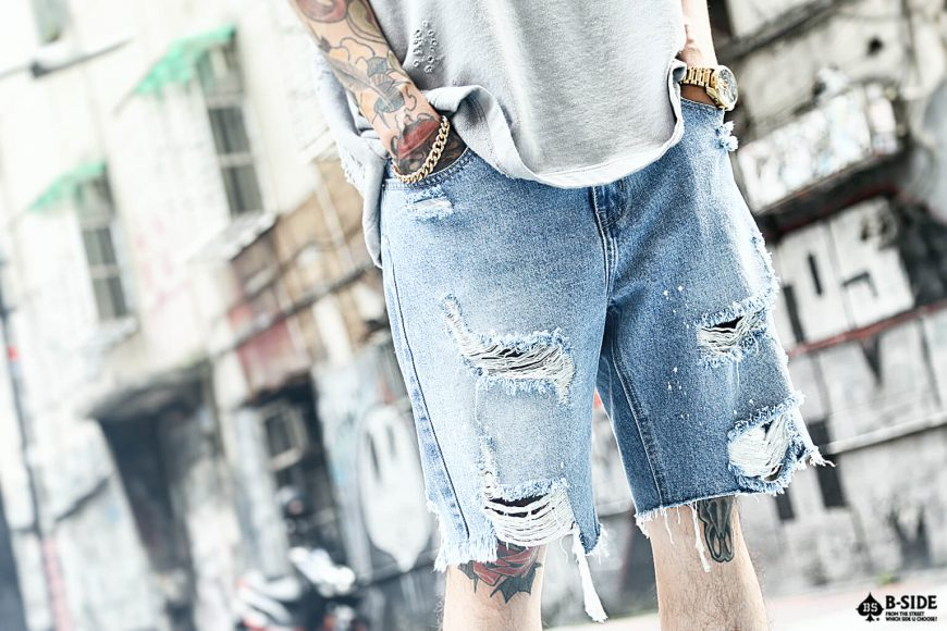 B-SIDE 17 SS Heavy Damage Denim Shorts (1)
