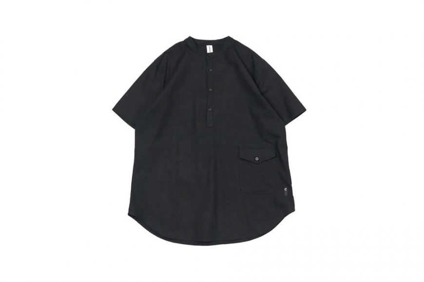 CentralPark.4PM 21 SS Band Collar Ripstop Shirt (3)